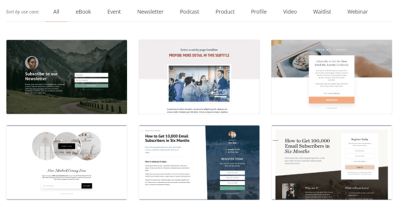 A selection of ConverKit's landing page templates