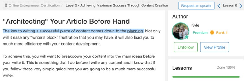 Architecting your article before hand