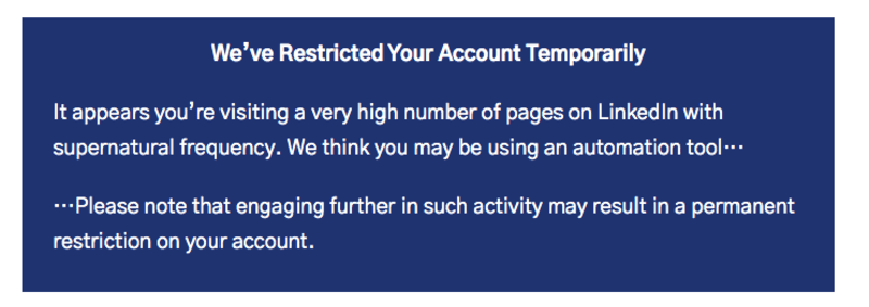 Be restricted the account temporarily