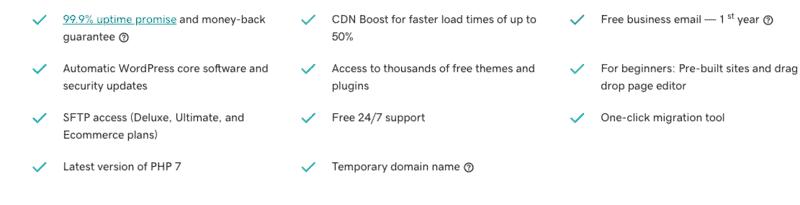 GoDaddy's WP hosting benefits