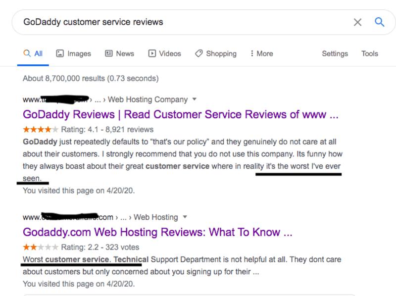 GoDaddy Customer Service Reviews