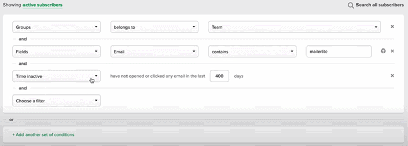 MailerLite's Segment creation form