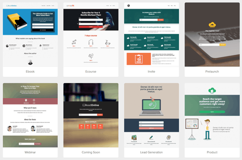 MailerLite's landing page template selection screen
