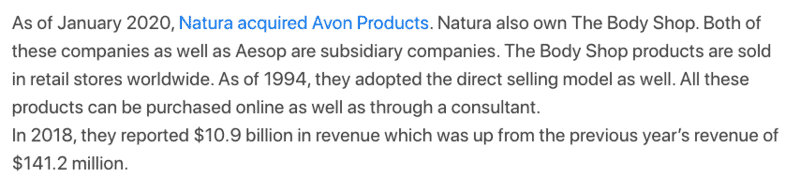 Natura acquired Avon Products