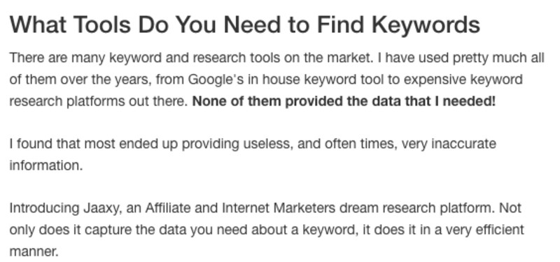 What tools do you need to find keywords