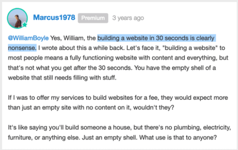 people says about 30 second to build a website