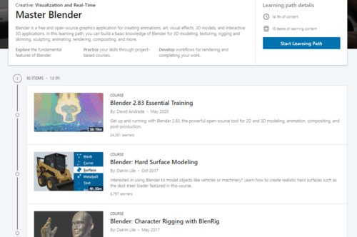 A snapshot of LinkedIn Learning's 33-hour Master Blender learning path