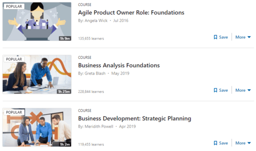 """A snapshot of LinkedIn Learning's Business Analysis """"course"""" results"""