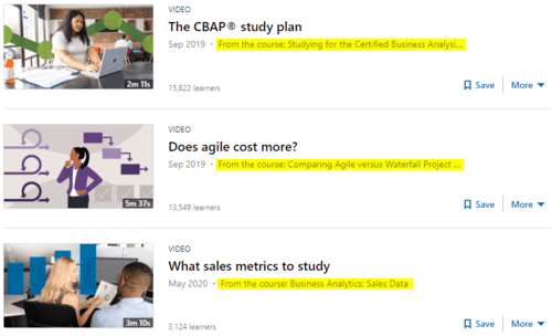 """A snapshot of LinkedIn Learning's Business Analysis """"video"""" results"""