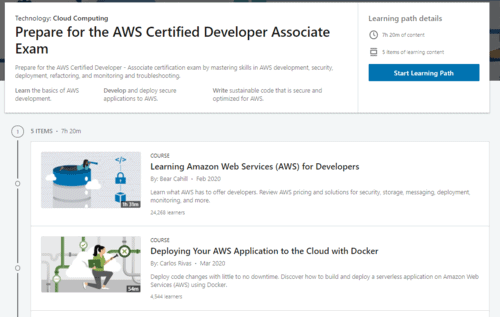 A snapshot of the AWS Certified Developer Associate Exam learning path