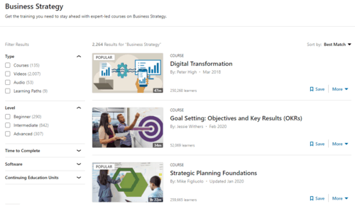 A snapshot of the course-browsing UI for the Business Strategy sub-topic