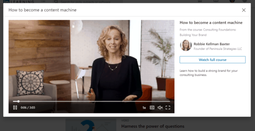 A standalone LinkedIn Learning video is splayed in a lightbox popup