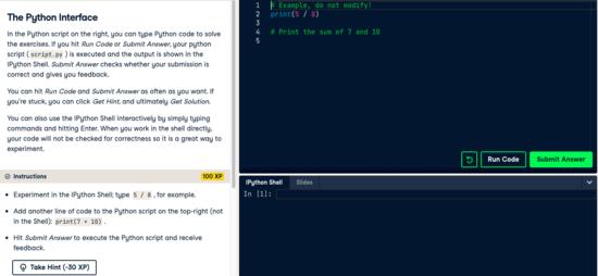 DataCamp - The Python Interface