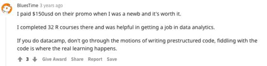 DataCamp's Review on Reddit