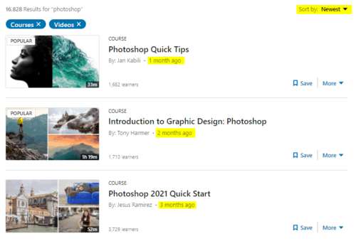 """Snapshot of all """"Photoshop"""" courses and videos"""