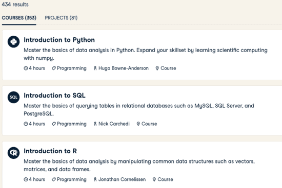 The first 3 courses of DataCamp: Python, SQL, R