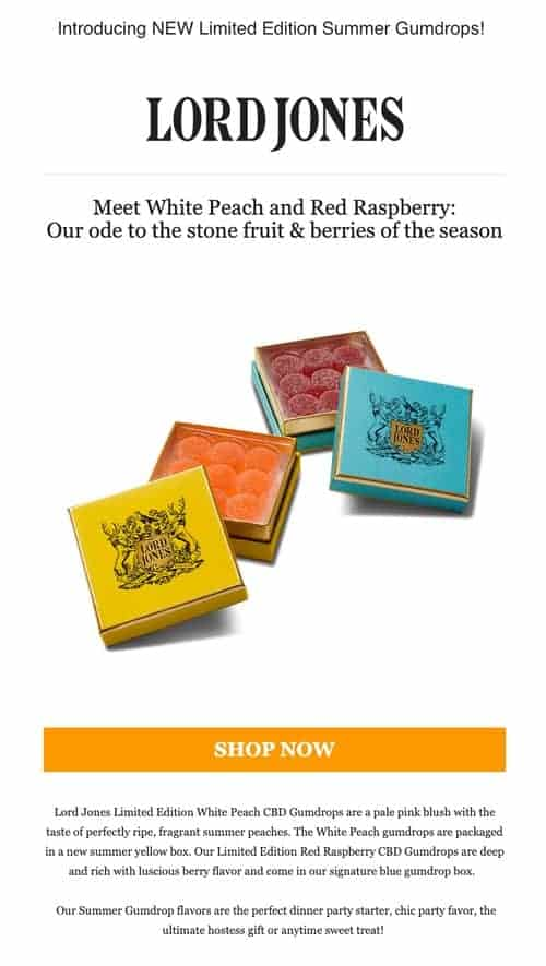 New Product Announcement and Promotion email from Lord Jones
