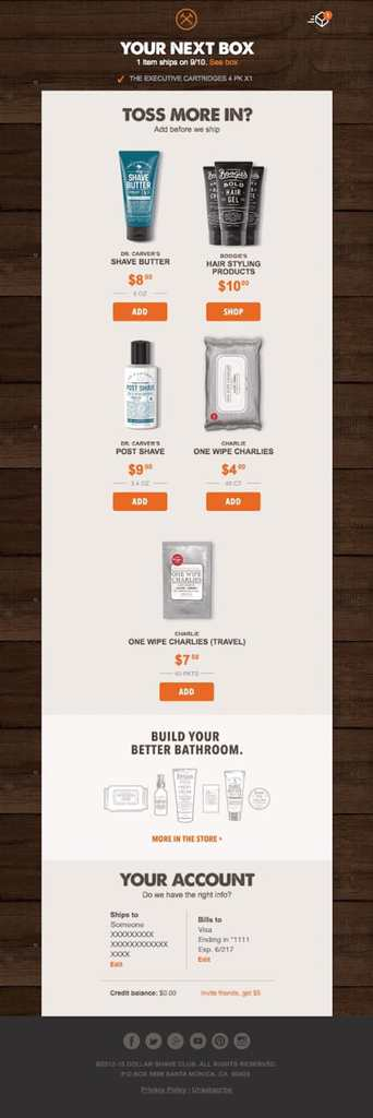 Upselling and Cross-selling Email from Dollar Shave Club