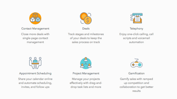 All of the key features of Agile CRM