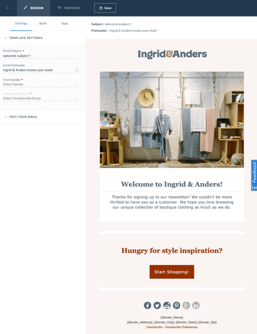 An example of an automated email series from Ingrid & Anders