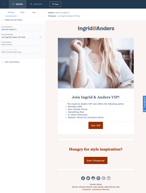 Ingrid & Anders's welcome email to VIP