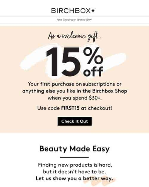 Birchbox's welcome email
