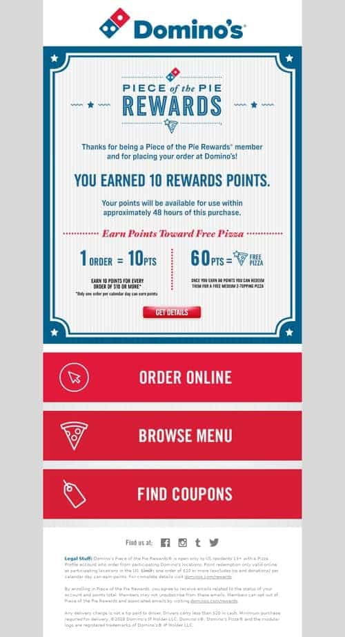 Rewards and Loyalty Programs Email from Domino