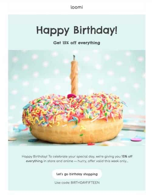 Loomi's Happy Birthday Email