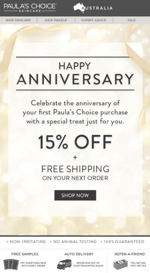 Paula's Choice's Happy Anniversary Email