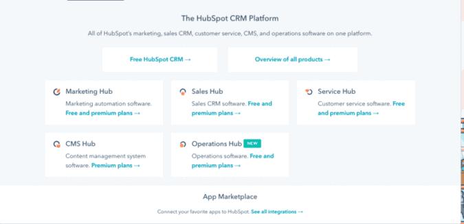 The HubSpot CRM flatform
