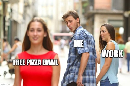 Free pizza email is more attractive than work email