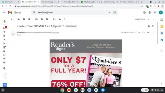 How Reader's Digest reiterates the content of the email in its subject line.png