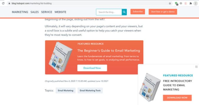 HubSpot creates a different call to action for various blogs