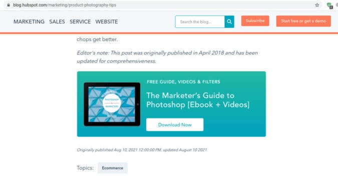 Hubspot leverages their content marketing efforts