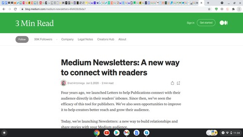 Medium uses Newsletter to connect with readers