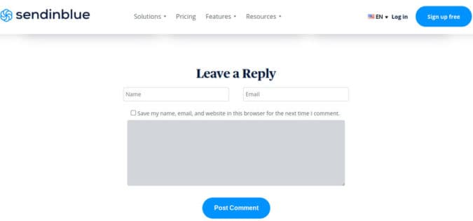 Sendinblue captures email addresses from people who post a reply to their blog posts