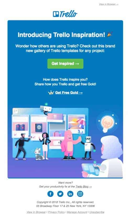 Trello's newsletter explains how to use their service more effectively