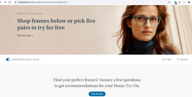 Warby Parker collects email addresses by enticing people to take a quiz to receive free home try-on frames