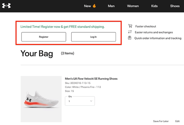 under armour free shipping example